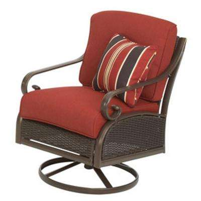 Cedar Island All-Weather Wicker Patio Swivel Rocker with Chili Cushion