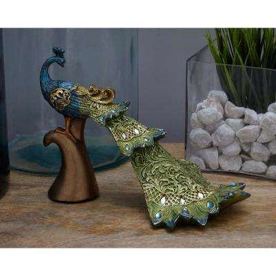 8 in. Peacock Decorative Figurine in Textured Turquoise, Gold, and Emerald Green