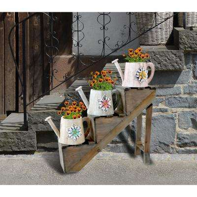 Antique Style Wooden Flower Planter with 3 Watering Cans on Stairs