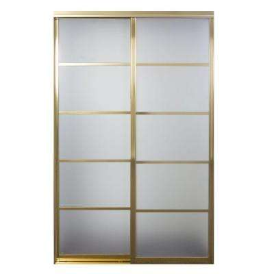 Silhouette 5-Lite Mystique Glass Bright Gold Aluminum Interior Sliding Door
