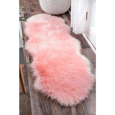 Terrell Solid Faux Sheepskin Blush 2 ft. x 6 ft. Runner Rug