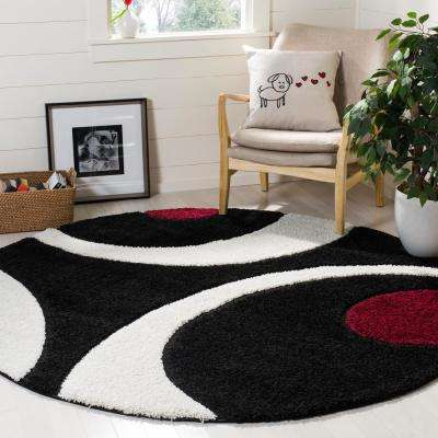 Florida Shag Black/Ivory 6 ft. 7 in. x 6 ft. 7 in. Round Area Rug