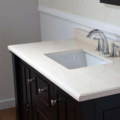 Positano 48 in. W x 22 in. D Bath Vanity in Tobacco with Marble Vanity Top in Sahara with White Basin
