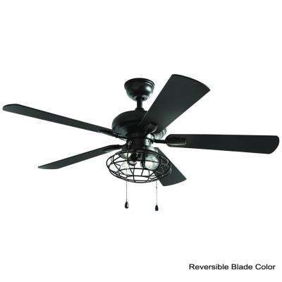 Ellard 52 in. LED Matte Black Indoor Ceiling Fan with Lights