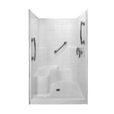 Freedom 36.75 in. x 48 in. x 79.5 in. 3-piece Low Threshold Shower System in White with Left Side Seat
