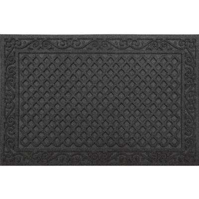 Black Lattice 24 in. x 36 in. Door Mat