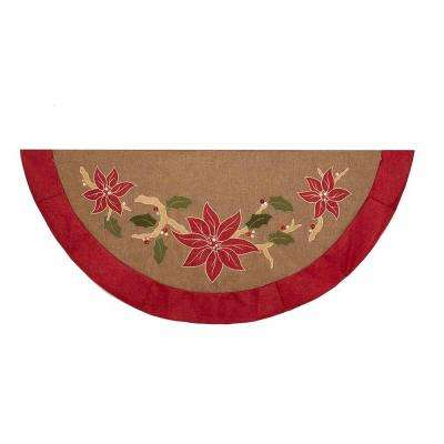 54 in. Red and Green Applique and Embroidery Christmas Tree Skirt