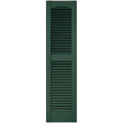 12 in. x 48 in. Louvered Vinyl Exterior Shutters Pair in #028 Forest Green