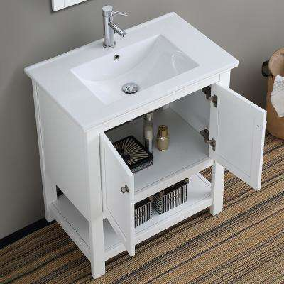 Bradford 30 in. W Traditional Bathroom Vanity in White with Ceramic Vanity Top in White with White Basin