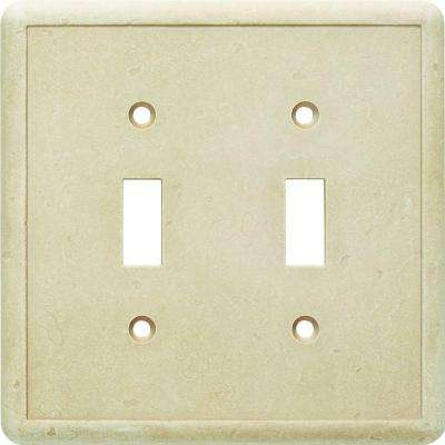 2 Toggle Wall Plate in Travertine