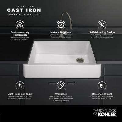Whitehaven Farmhouse Self-Trimming Apron Front Cast Iron 33 in. Single Bowl Kitchen Sink in White