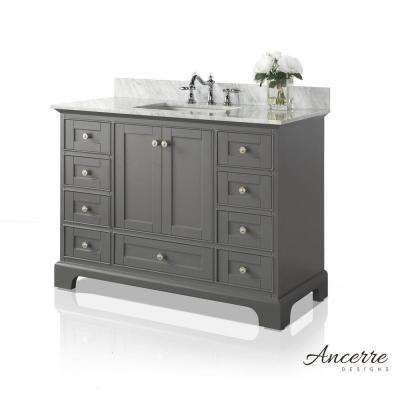 Audrey 48 in. W x 22 in. D Vanity in Sapphire Gray with Marble Vanity Top in Carrara White with White Basin
