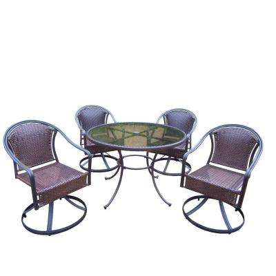 Tuscany Resin Wicker 5-Piece Swivel Patio Dining Set