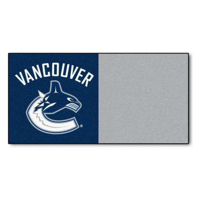 NHL - Vancouver Canucks Blue and Gray Pattern 18 in. x 18 in. Carpet Tile (20 Tiles/Case)