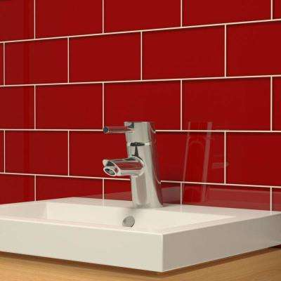 Ruby Red 3 in. x 6 in. x 8 mm Glass Subway Tile (5.5 sq. ft./case)