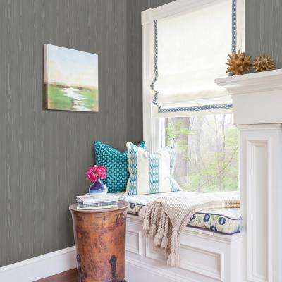 56.4 sq. ft. Illusion Grey Faux Wood Wallpaper