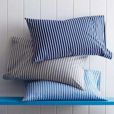Aiden Stripe 200-Thread Count Cotton Percale Pillowcase (Set of 2)