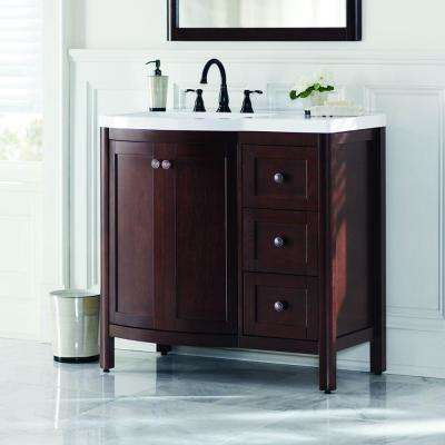 Madeline 37 in. W Vanity in Chestnut with Cultured Marble Vanity Top in White
