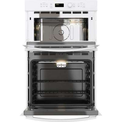27 in. Double Electric Wall Oven with Built-In Microwave in White