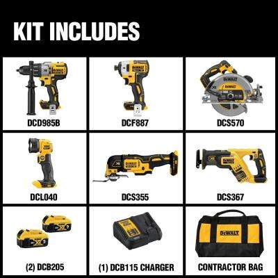 20-Volt MAX XR Lithium-Ion Brushless Cordless Combo Kit (6-Tool) w/ Hammer Drill, (2) Batteries 5.0Ah, Charger and Bag