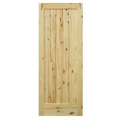 1-Panel Knotty Pine Single Prehung Interior Door with Bronze Hinges