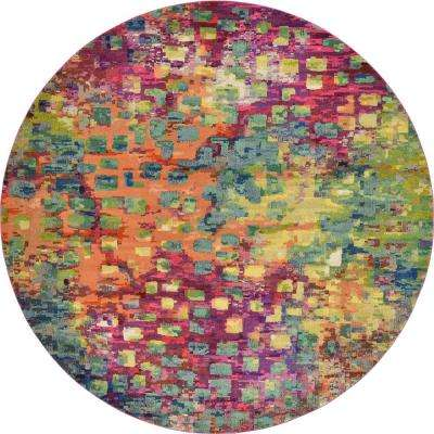 Abstract Multicolor Barcelona 12 ft. 2 in. x 12 ft. 2 in. Area Rug