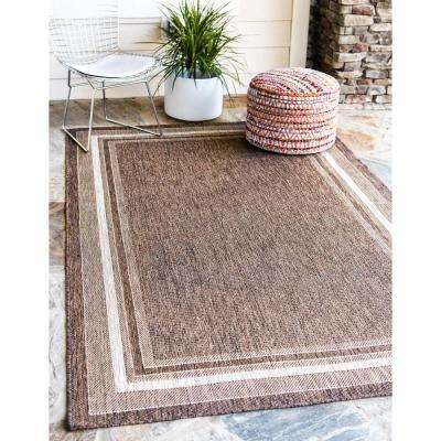 Outdoor Soft Border Brown 6' 0 x 9' 0 Area Rug