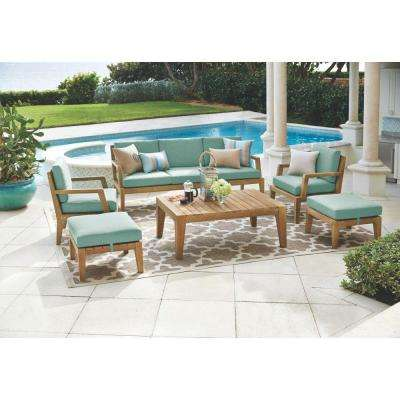 Bermuda 6 Piece All Weather Eucalyptus Wood Patio Seating Set With Spa Blue  Fabric  Home Depot Patio