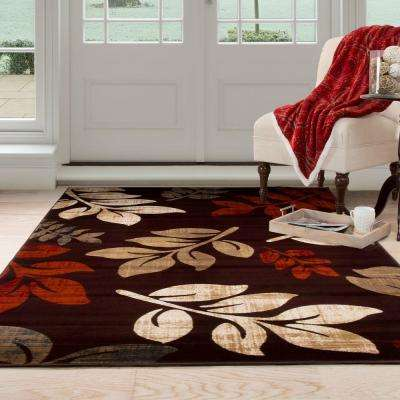 Opus Falling Leaves Burgundy 8 ft. x 10 ft. Area Rug