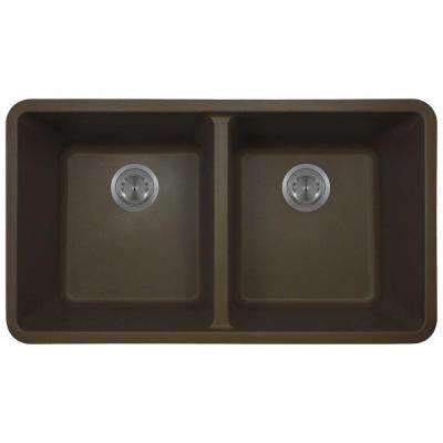 Undermount Composite 32-1/2 in. Double Bowl Kitchen Sink in Mocha