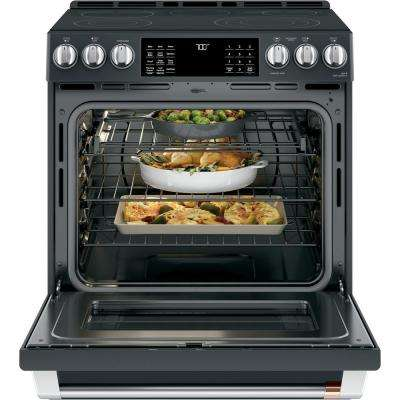 30 in. 5.7 cu. ft. Slide-In Electric Range with Self-Cleaning Convection Oven in Matte Black, Fingerprint Resistant