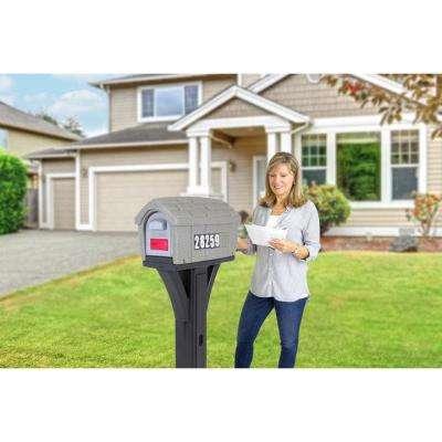 Classic Home Gray Stone /  Black Post Mount Mailbox