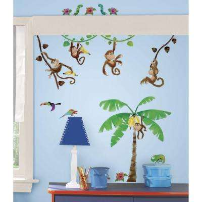 5 in. x 11.5 in. Monkey Business Peel and Stick Wall Decal
