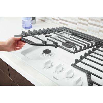 30 in. Gas Cooktop in White with 4 Burners and EZ-2-LIFT Hinged Cast-Iron Grates