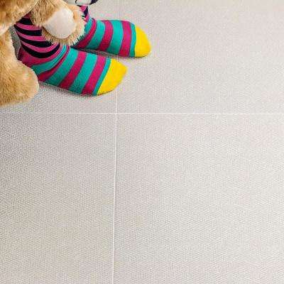 Vaugn White 18 in. x 18 in. x 10mm Matte Fabric Look Porcelain Floor and Wall Tile (5-Piece/10.76 sq. ft./Box)