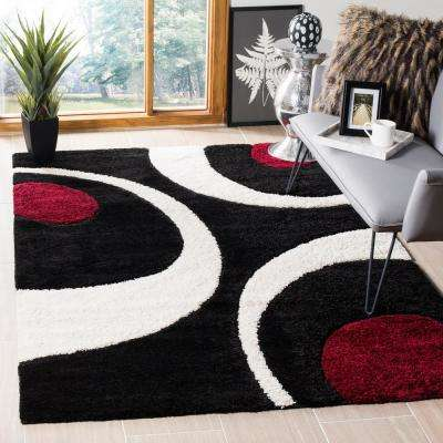 Florida Shag Black/Ivory 8 ft. 6 in. x 12 ft. Area Rug