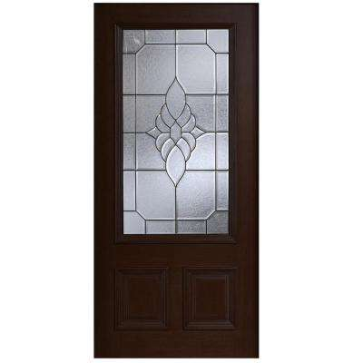 36 in. x 80 in. Mahogany Type 3/4 Glass Prefinished Espresso Beveled Patina Solid Wood Front Door Slab