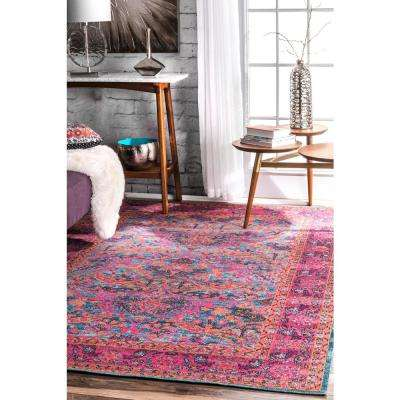 Persian Floral Yoshie Pink 8 ft. x 10 ft. Area Rug