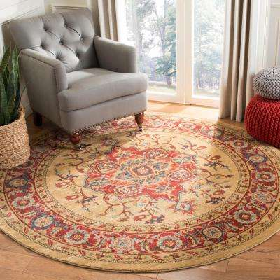 Mahal Red/Natural 9 ft. x 9 ft. Round Area Rug