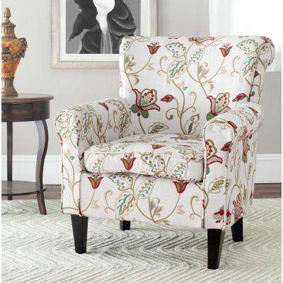 Hazina White & Red Cotton Blend Club Arm Chair
