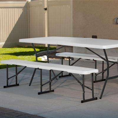 6 ft. Fold in Half Table and Bench Combo Pack in White