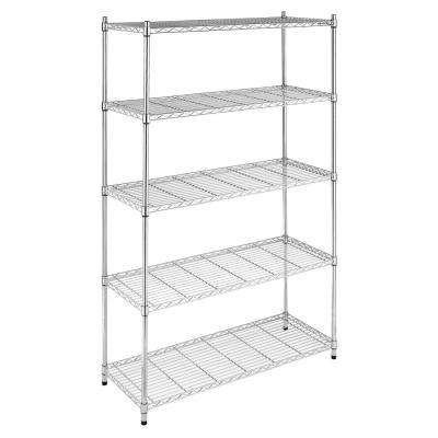 Supreme Shelving Collection 48 in. x 74 in. Supreme 5-Tier Shelving in Chrome