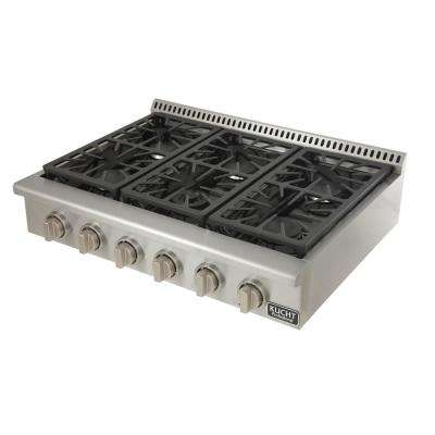 Professional 36 in. Natural Gas Range Top with 6 Sealed Burners in Stainless Steel