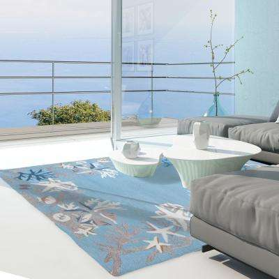 White Coral Reef Blue 8 ft. x 10 ft. Indoor/Outdoor Area Rug