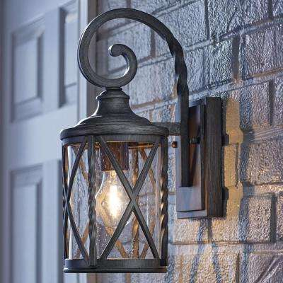 1-Light Antique Pewter 14.5 in. Outdoor Wall Lantern Sconce with Seeded Glass