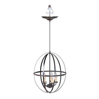 4-Light Brushed Bronze Instant Pendant Conversion Kit with Circular Cage Shade