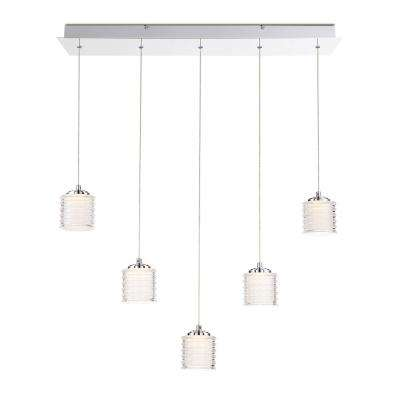 Ancona Collection 27.5-Watt Chrome Integrated LED Chandelier with Clear Glass Shade