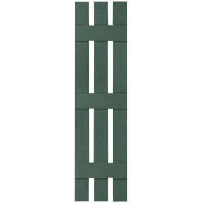 12 in. x 75 in. Lifetime Vinyl Standard Three Board Spaced Board and Batten Shutters Pair Forest Green