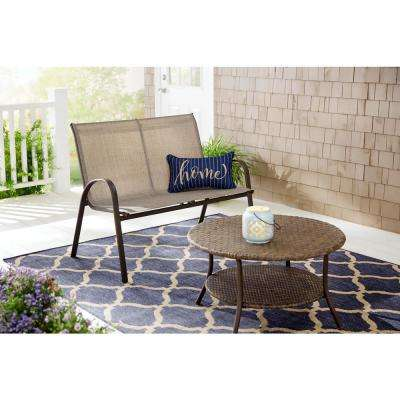 Mix and Match Steel Sling Stackable Outdoor Patio Loveseat in Riverbed Taupe