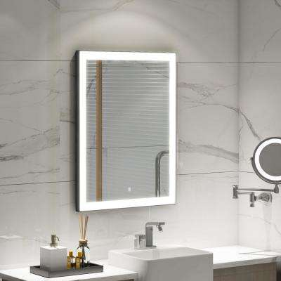 31.50 in. W x 23.6 in. H Frameless Single LED Lighted Bathroom Mirror in Silver